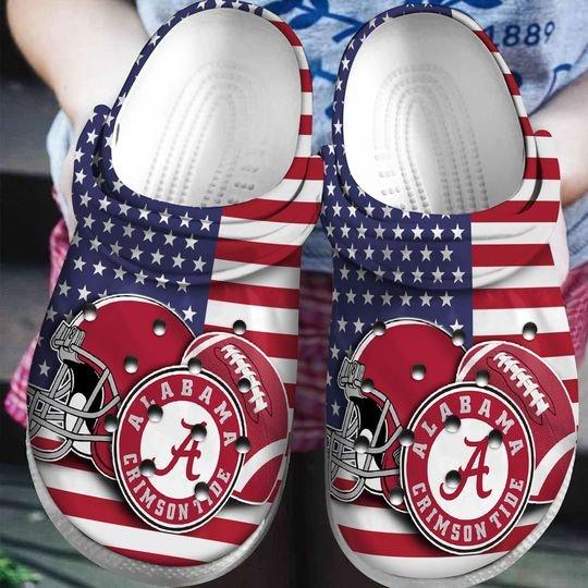 american flag alabama crimson tide football team crocband clog 1 - Copy