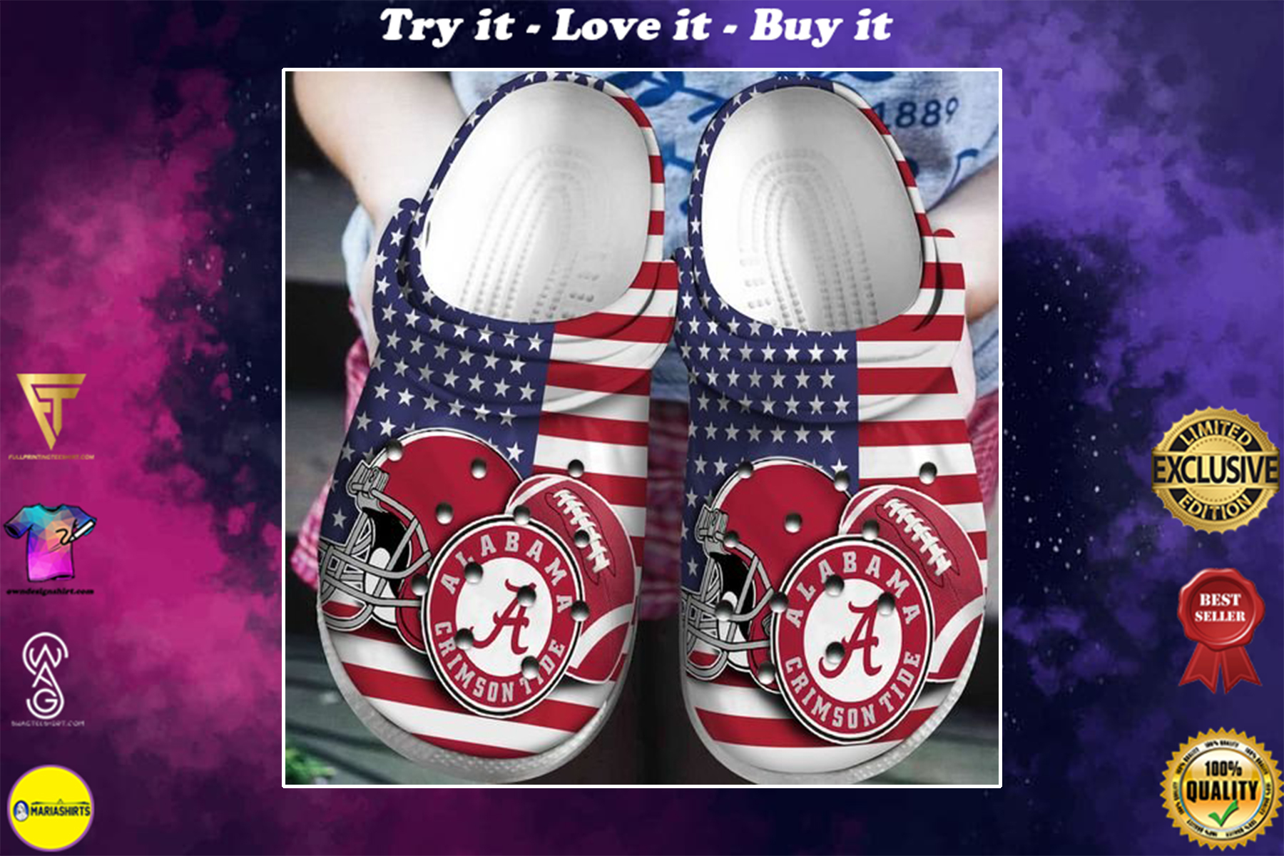 american flag alabama crimson tide football team crocband clog - Copy