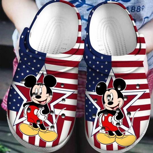 american flag mickey mouse crocband clog 1
