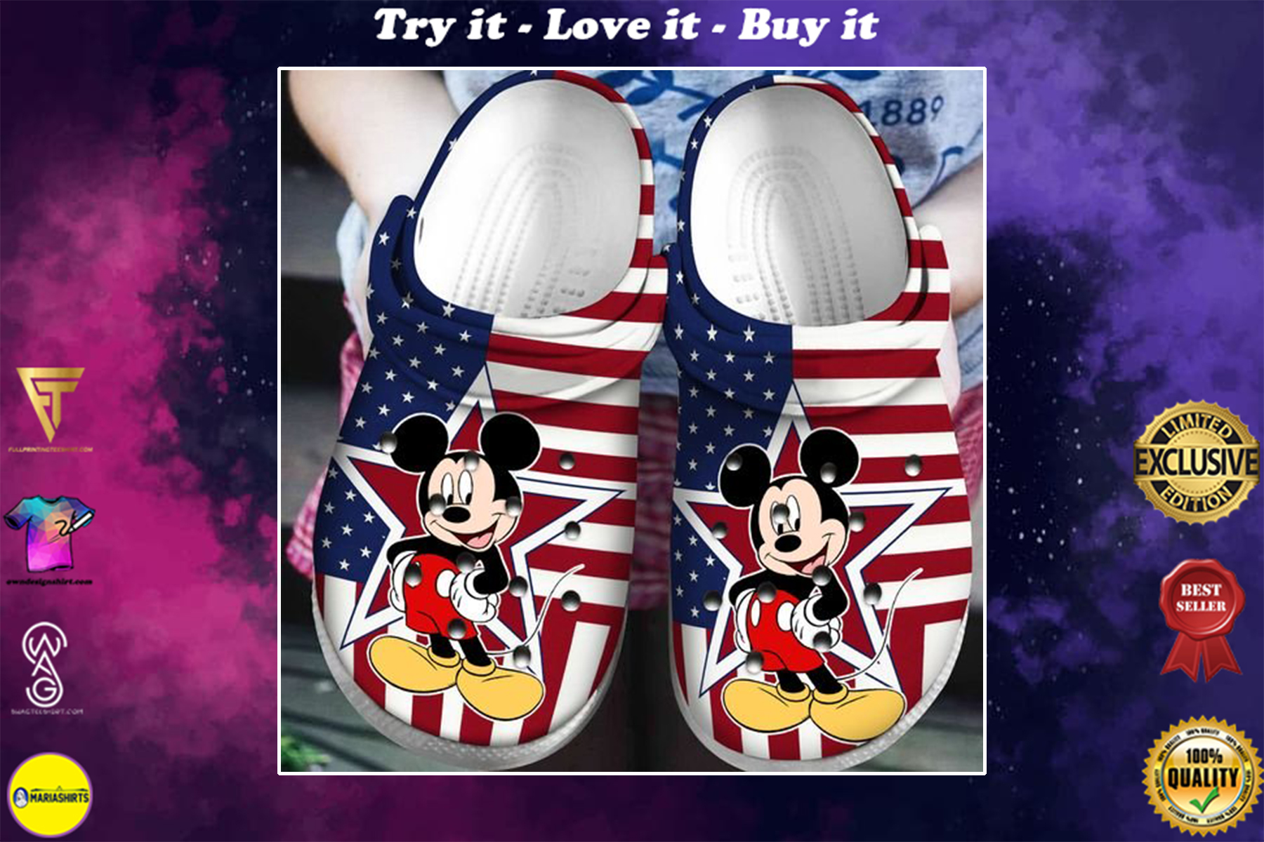 american flag mickey mouse crocband clog - Copy