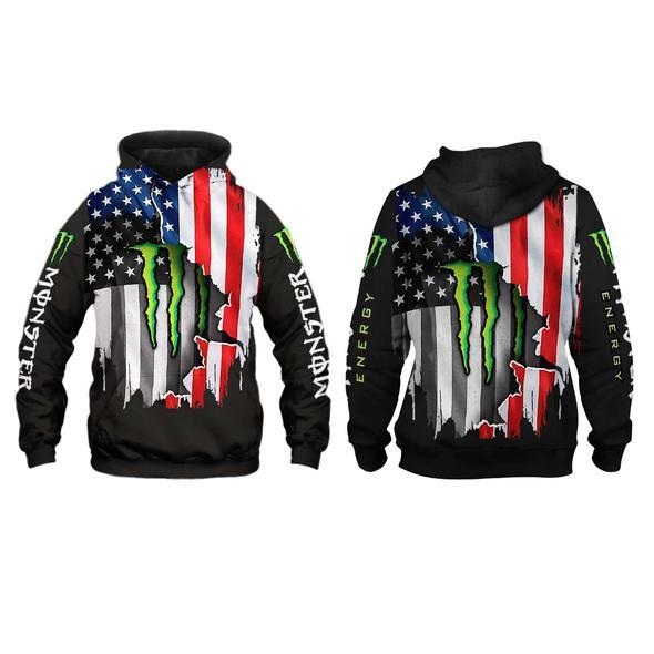 american flag monster energy team motocross full printing hoodie