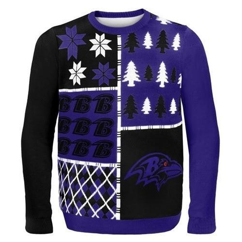 baltimore ravens busy block ugly christmas sweater 1