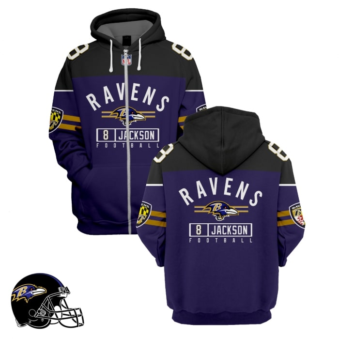 baltimore ravens lamar jackson 8 full over printed zip hoodie