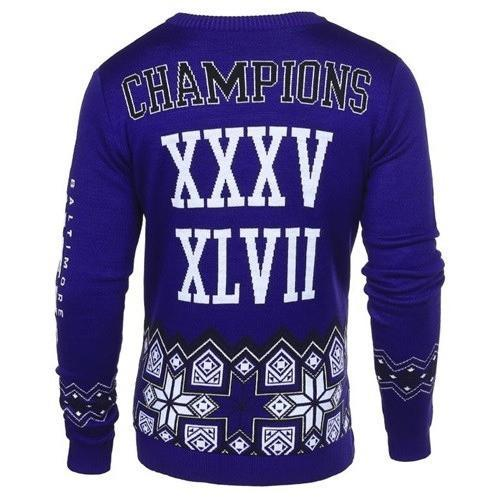 baltimore ravens super bowl champions ugly christmas sweater 2