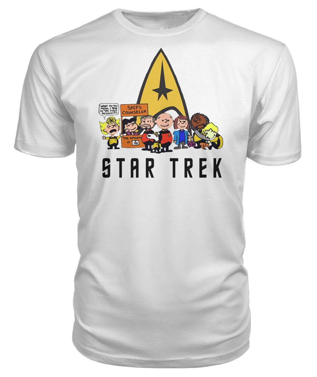 charlie brown snoopy and woodstock star trek tshirt