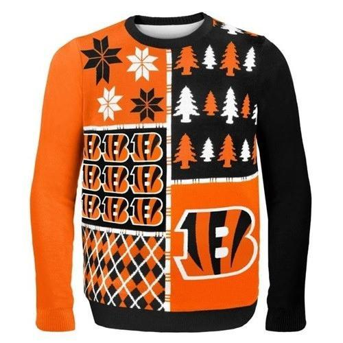 cincinnati bengals busy block ugly christmas sweater 1