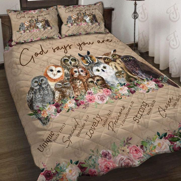 Ing Custom Name God Says You, Brown Owl Bedding