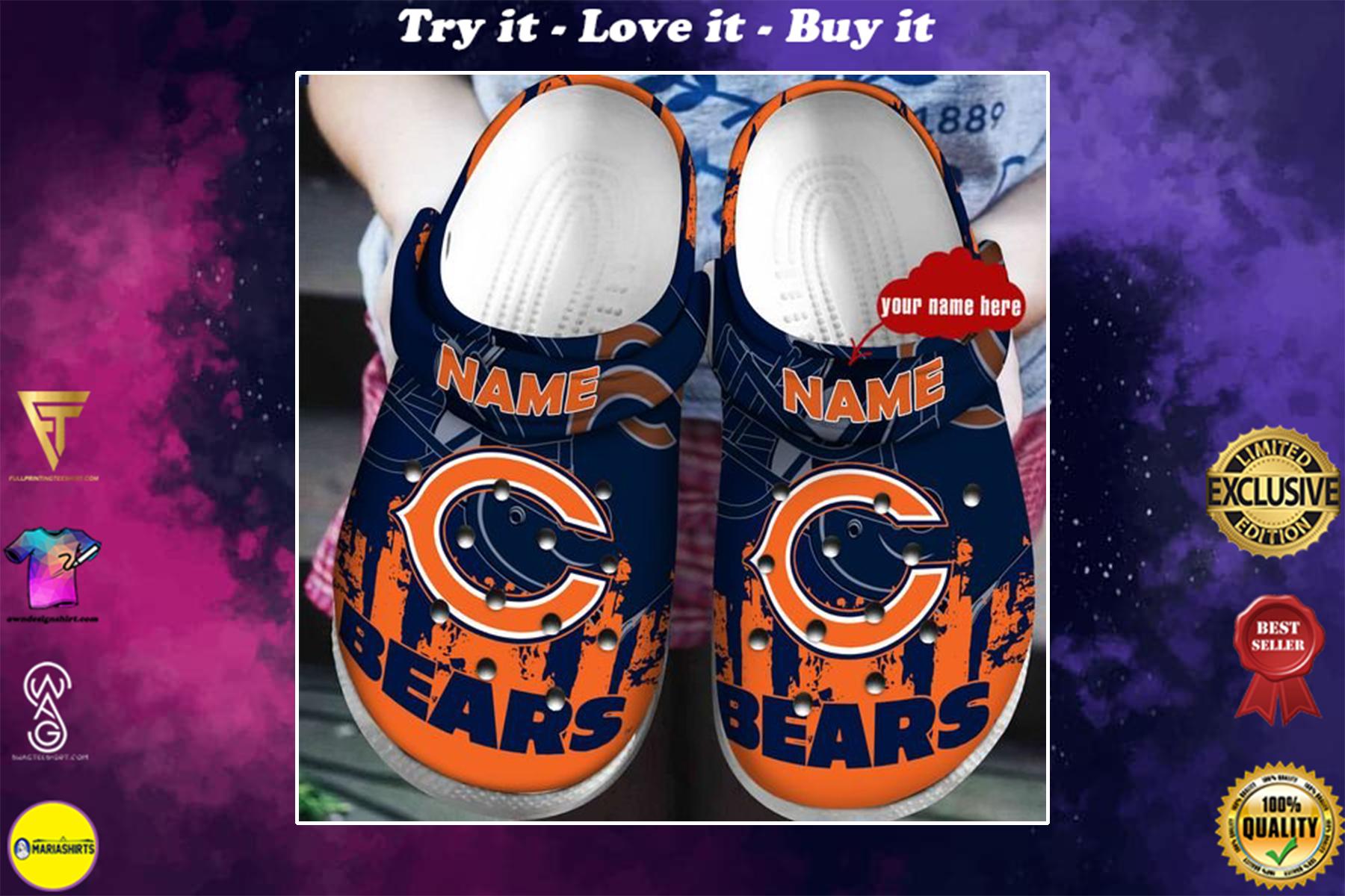 custom name chicago bears football team crocband clog