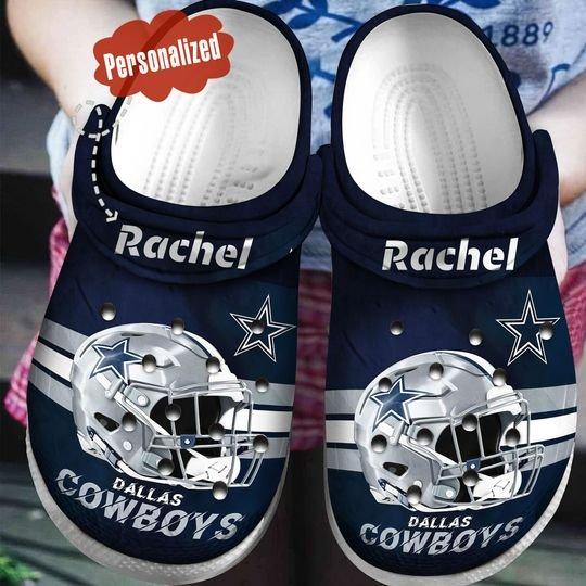 custom name dallas cowboys helmet crocband clog 1