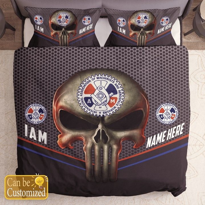 custom name skull international association of machinists and aerospace workers bedding set 1