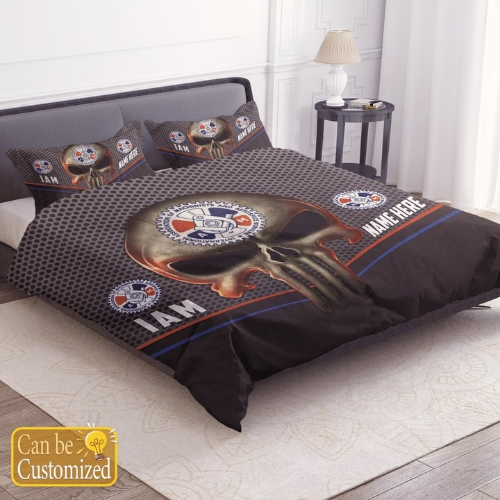 custom name skull international association of machinists and aerospace workers bedding set 2