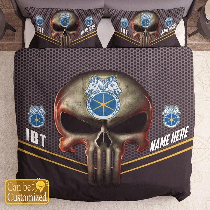 custom name skull international brotherhood of teamsters bedding set 1