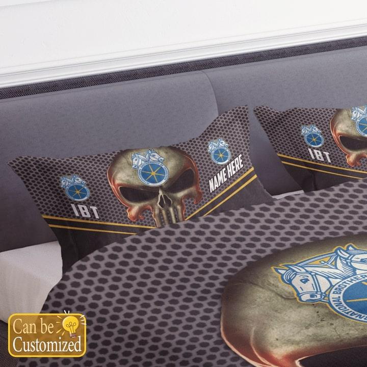 custom name skull international brotherhood of teamsters bedding set 4