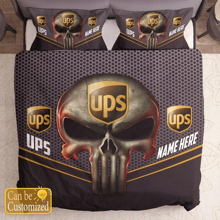 custom name skull united parcel service bedding set 1