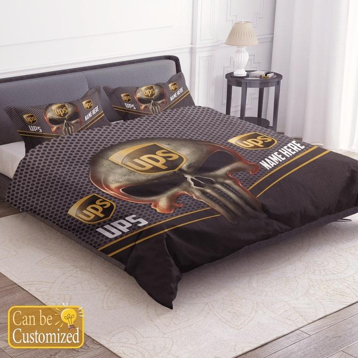custom name skull united parcel service bedding set 3