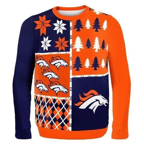 denver broncos busy block ugly christmas sweater 2