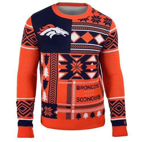 denver broncos patches ugly christmas sweater 2