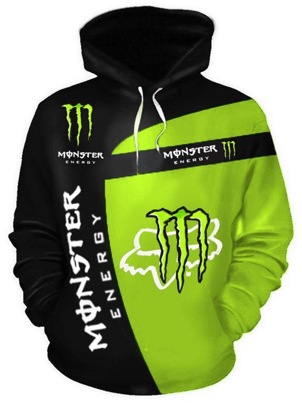 fox racing and monster energy racing sport full printing hoodie