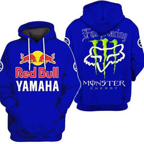 fox racing red bull yamaha full printing shirt 2