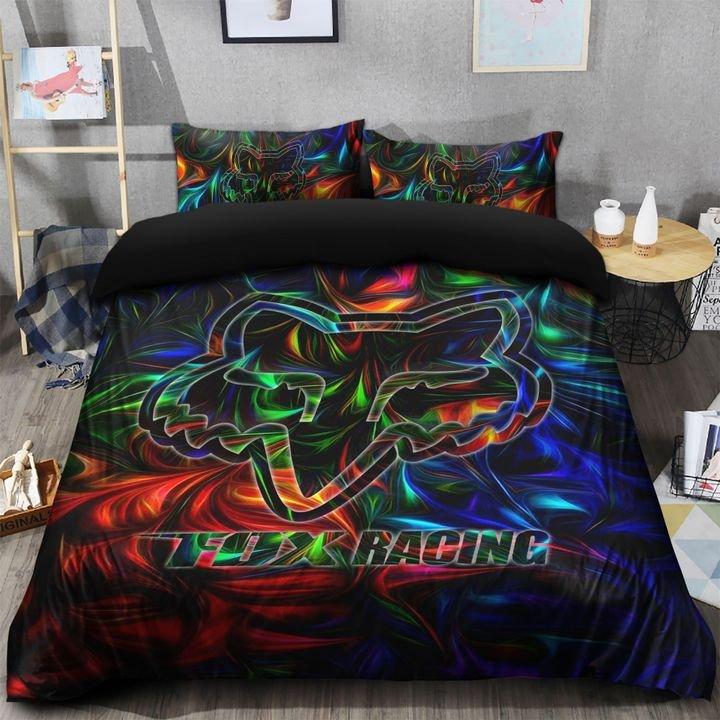 fox racing symbol colorful bedding set 3