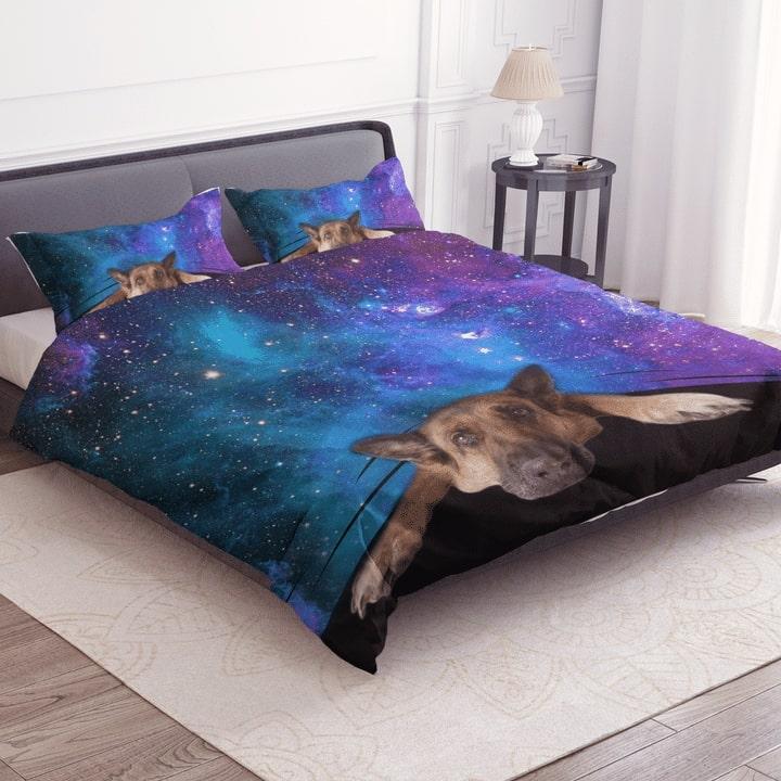 german shepherd galaxy bedding set 3