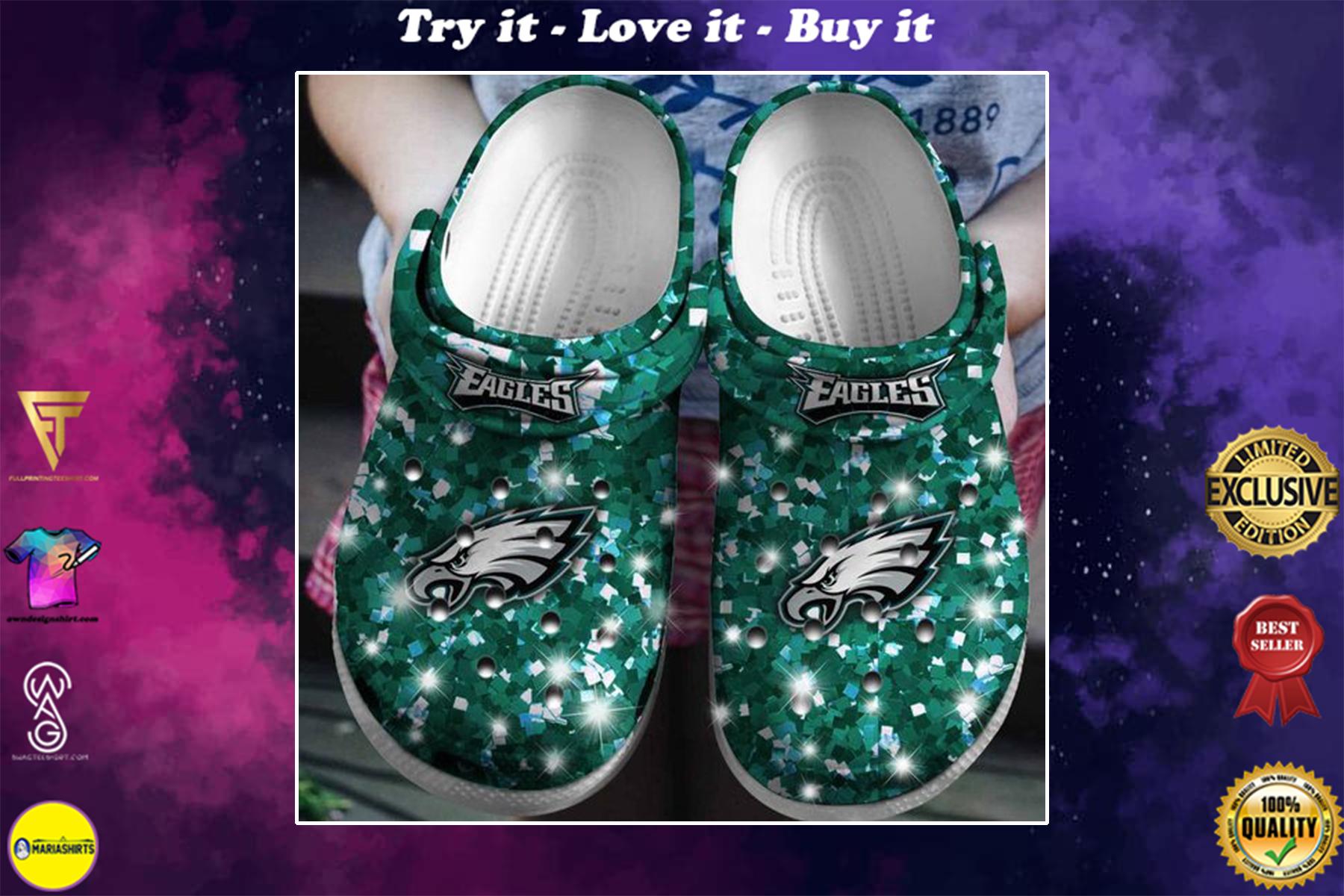 glitter philadelphia eagles football team crocband clog - Copy