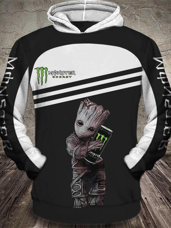 groot and monster energy factory racing motorcross full printing hoodie