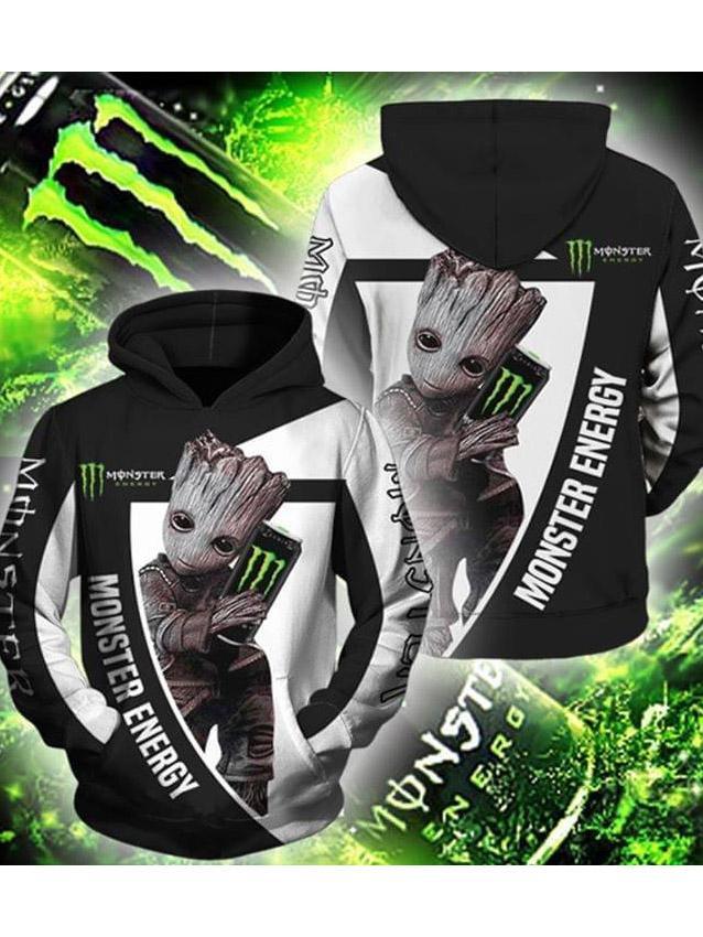 groot loves monster energy full printing hoodie