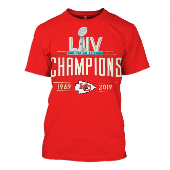 kansas city chiefs super bowl liv champions 1969-2019 full over printed tshirt