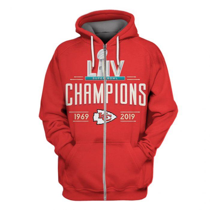 kansas city chiefs super bowl liv champions 1969-2019 full over printed zip hoodie