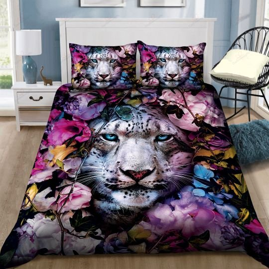 leopard and flower bedding set 3