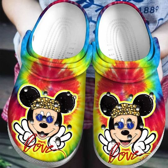 love mickey mouse tie dye crocband clog 1