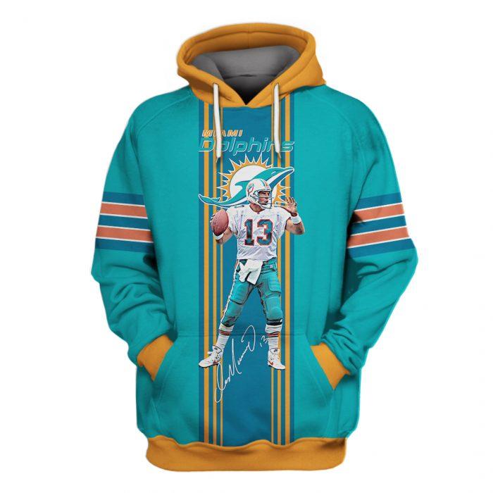 miami dolphins dan marino 13 full over printed hoodie