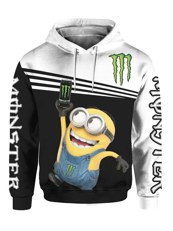 minions and monster energy full printing hoodie