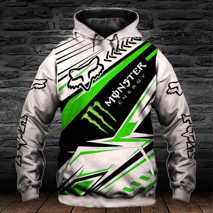monster energy fox racing motocross supercross full printing hoodie