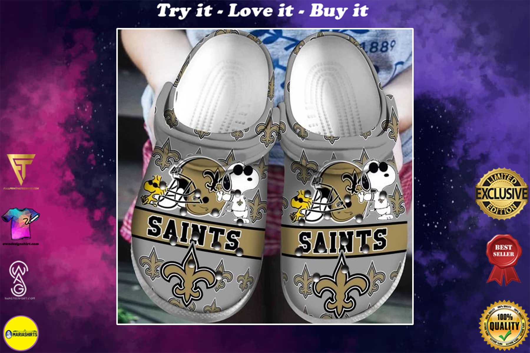 national football league new orleans saints and snoopy crocband clog - Copy