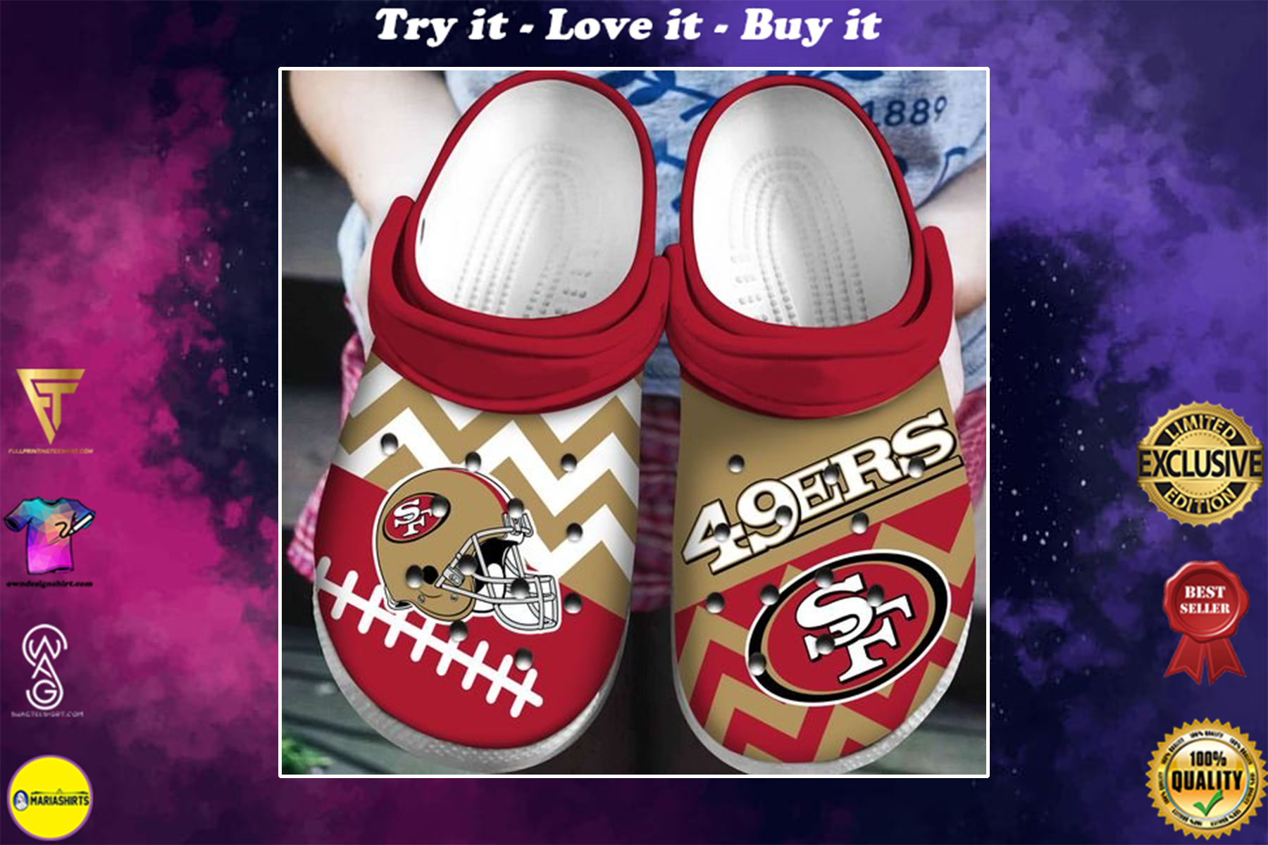 national football league san francisco 49ers helmet crocband clog - Copy