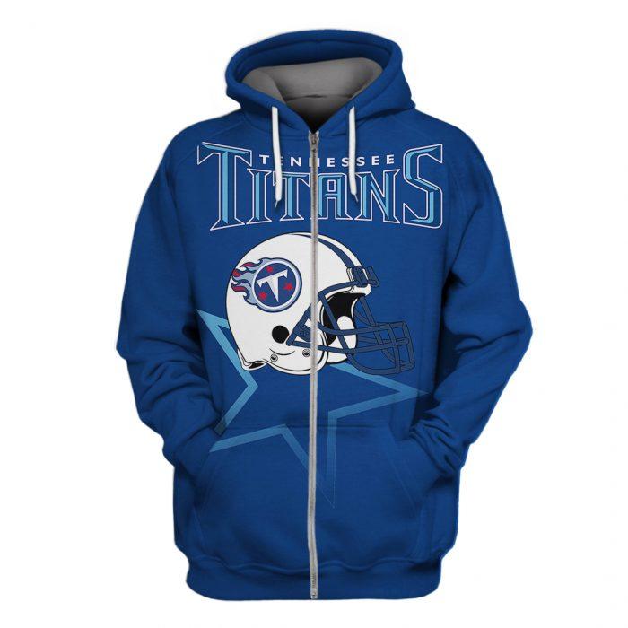 national football league tennessee titans helmet full over printed zip hoodie