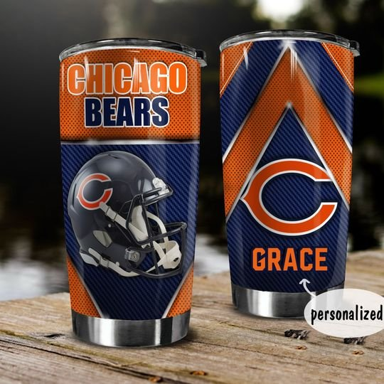 personalized name chicago bears helmet tumbler 1
