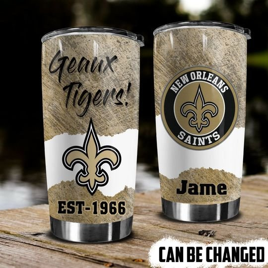 personalized name geaux tigers new orleans saints tumbler 1