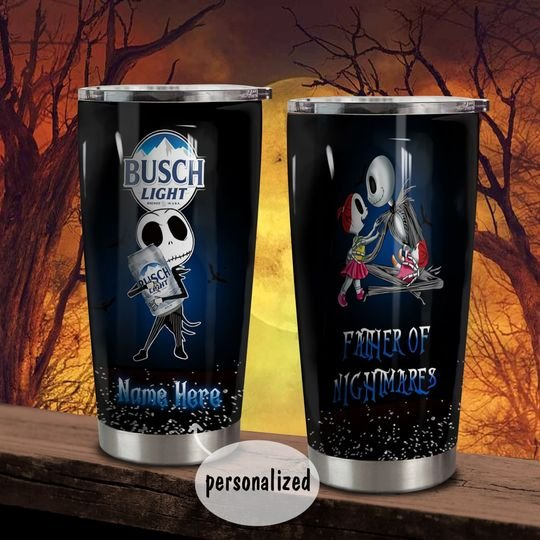 personalized name jack skellington busch light beer tumbler 1