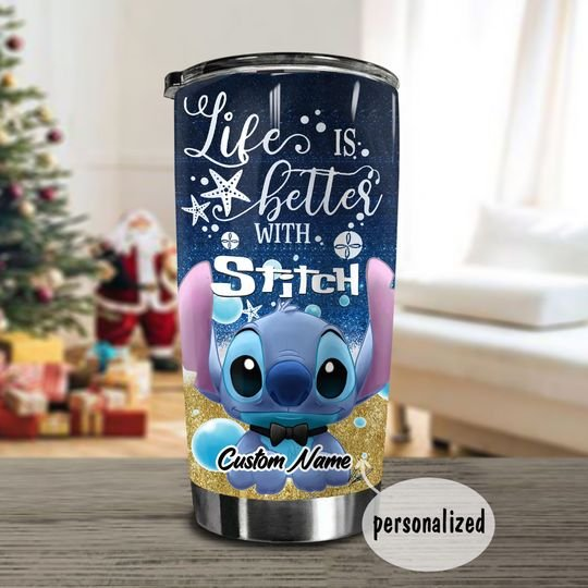 personalized name life is better with stitch tumbler 1