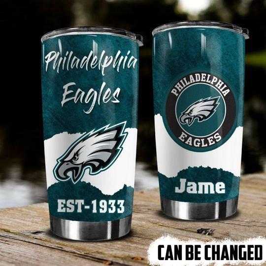 personalized name philadelphia eagles football team tumbler 1