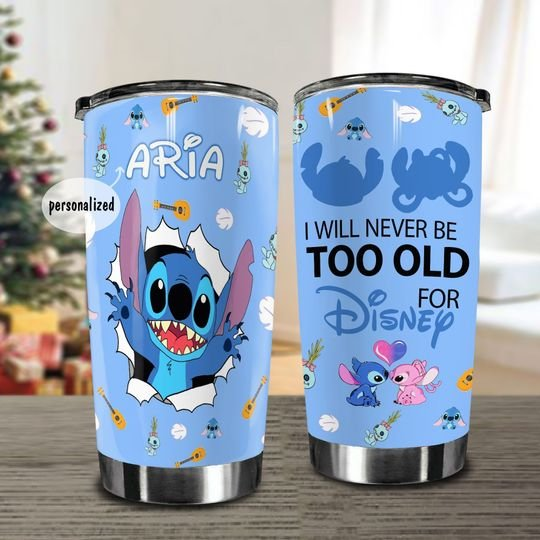 personalized name stitch i will never be too old for disney tumbler 1