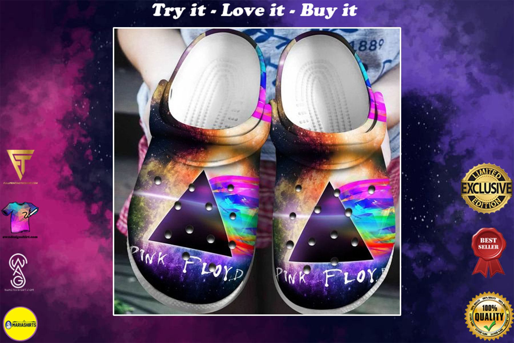 pink floyd the dark side of the moon crocband clog - Copy