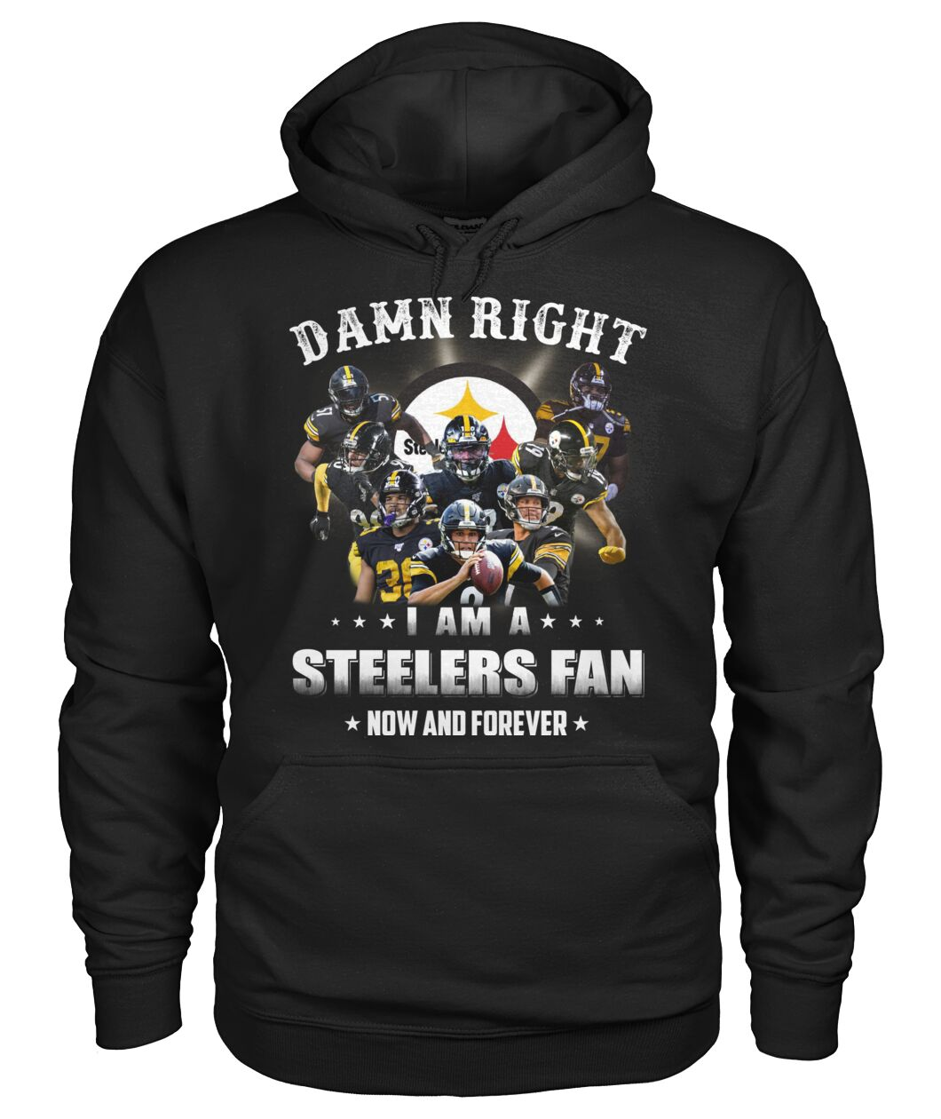 pittsburgh steelers damn right i am a steelers fan now and forever hoodie