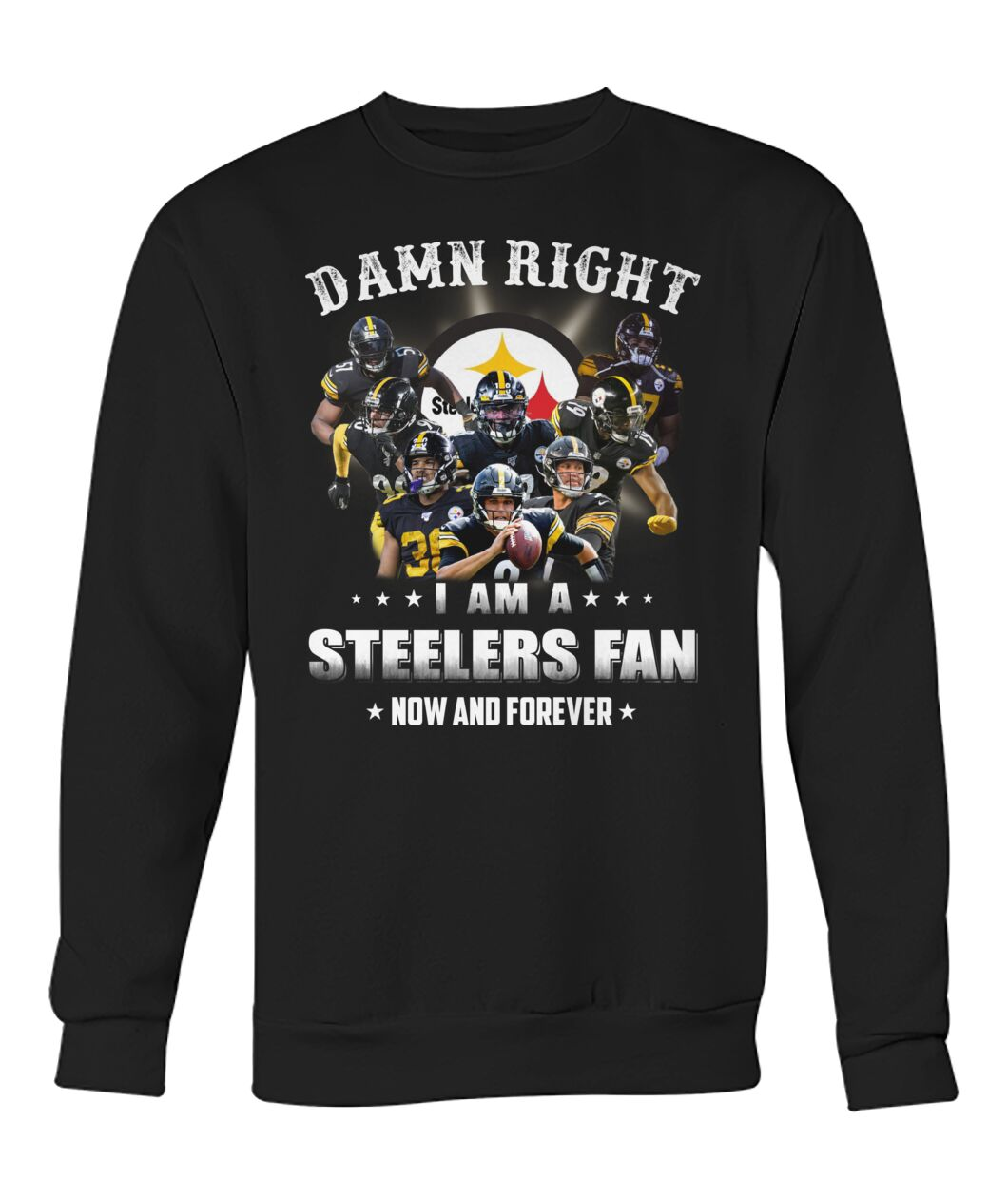 pittsburgh steelers damn right i am a steelers fan now and forever sweatshirt