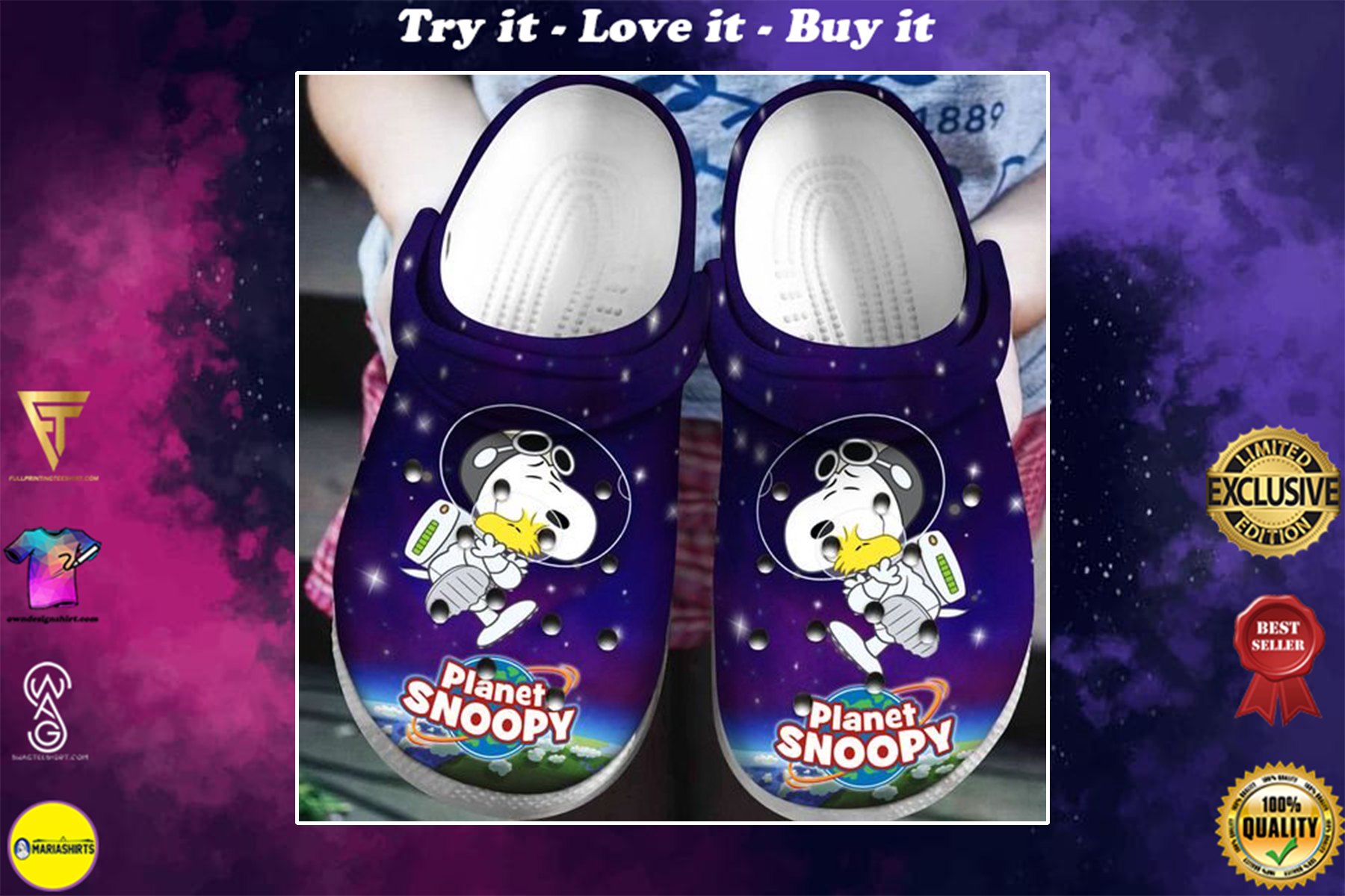 planet snoopy and woodstock in space crocband clog - Copy