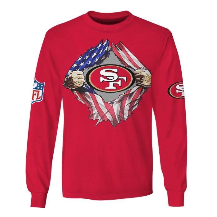 san francisco 49ers american flag full over printed sweatshirt