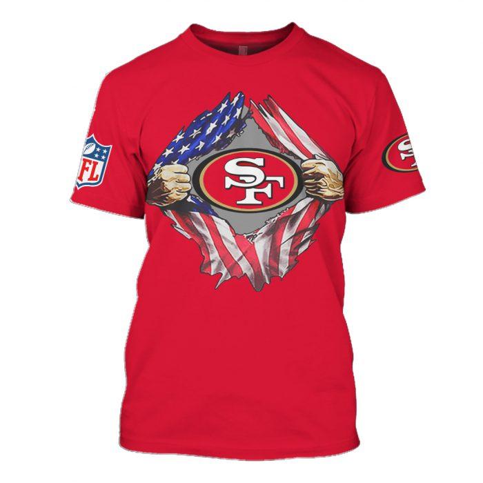 san francisco 49ers american flag full over printed tshirt